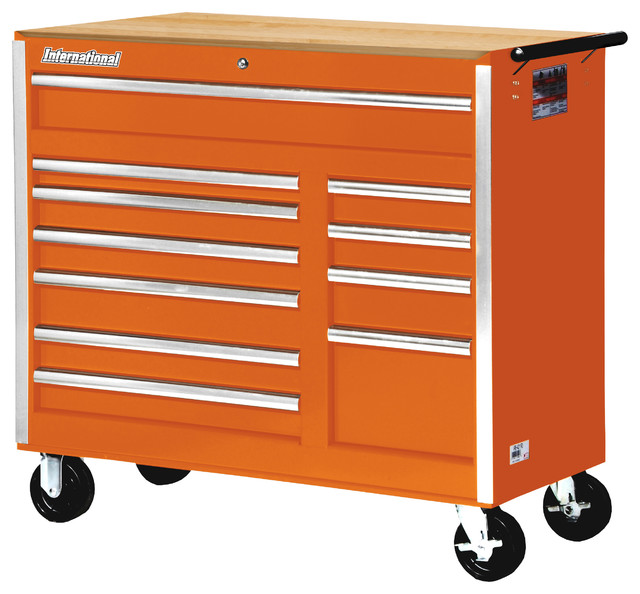 Tool Cabinet With Hardwood Top, Red - Contemporary - Garage And Tool ...