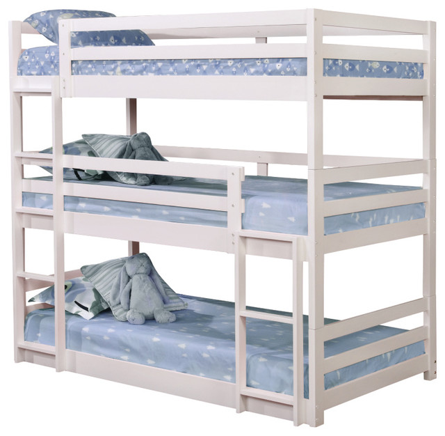 Amelia White Twin Size Triple Bunk Bed.