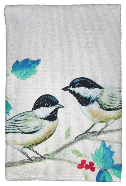 Betsy Drake Christmas Chickadees Kitchen Towel Contemporary Dish Towels By Zeckos