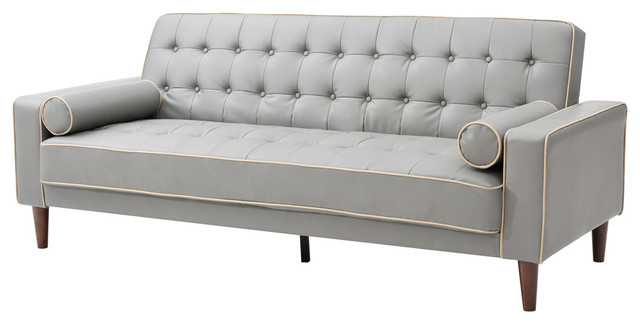 Navi Sleeper Sofa Gray Faux Leather