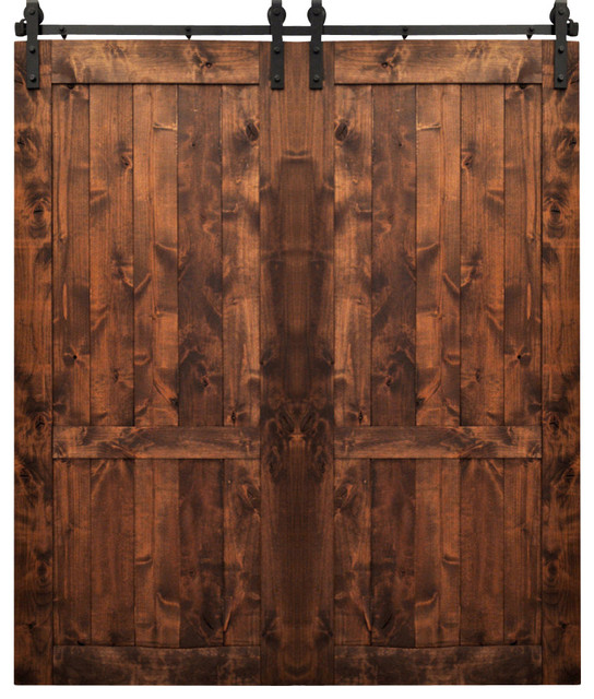Dogberry Country Double Barn Doors, Walnut