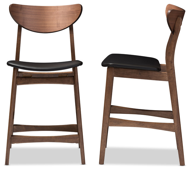 24 inch wooden counter stools low back stool wood leather upholstered walnut finishing set