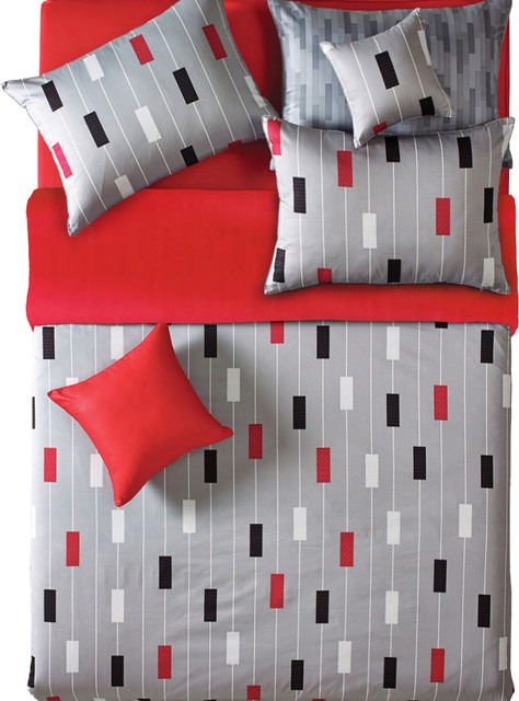 Reversible Gray And Red Stripe Duvet Cover Set - Duvet Covers And ... : red and grey quilt - Adamdwight.com
