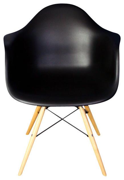 Awe Inspiring Daw Black Mid Century Modern Plastic Dining Armchair Wood Eiffel Legs Cjindustries Chair Design For Home Cjindustriesco