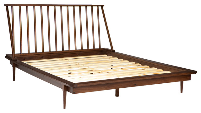 Modern Wood Queen Spindle Bed, Walnut Spindle Bed Queen