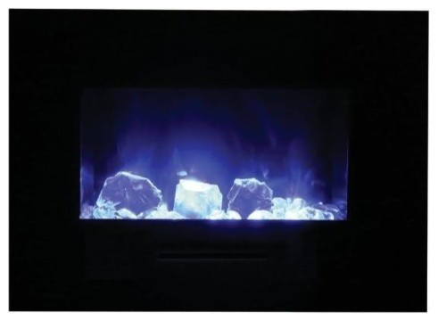 "Flush Mount Electric Fireplace With 3 Colors Media, 26""."