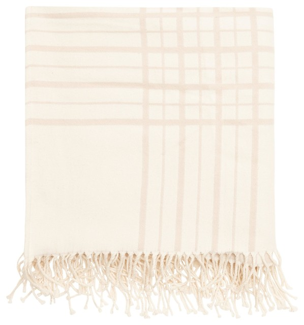 "Mull Plaid Cotton Throw Blanket, Cream And Beige, 49""x70""."
