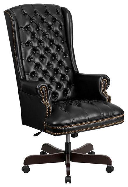 Offex High Back Traditional Tufted Leather Executive Office Chair, Black.