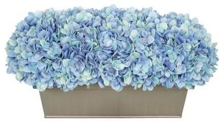 Artificial blue hydrangea in gloss silver zinc rectangle artificial blue hydrangea in gloss silver zinc rectangle mightylinksfo