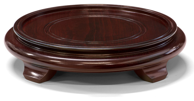 8 in Round Asian Wooden Stand, Brown