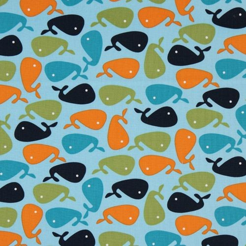 blue whale fabric Robert Kaufman USA designer