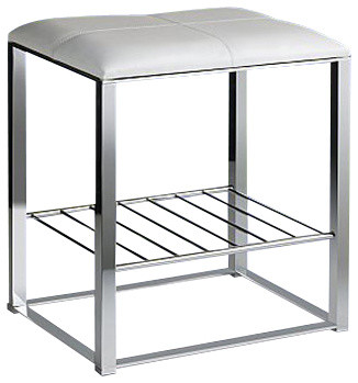 Chrome Bathroom Stool With White Leather Top And Shelf