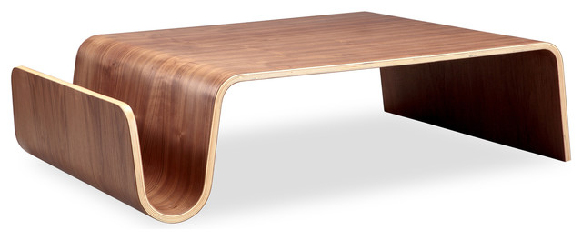 Scando Midcentury Modern Plywood Coffee Table Walnut Wood