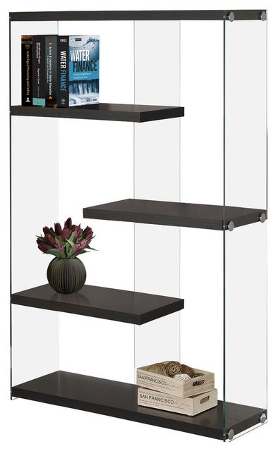 """Bookcase, 60""""H, Cappuccino With Tempered Glass"""