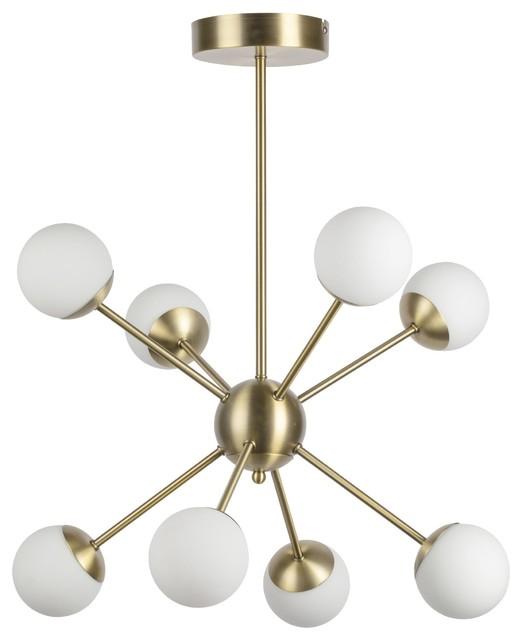 Galaxy 8-Light Chandelier, Brass