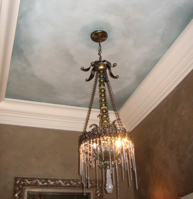 Sky Ceiling And Metallic Texture Walls
