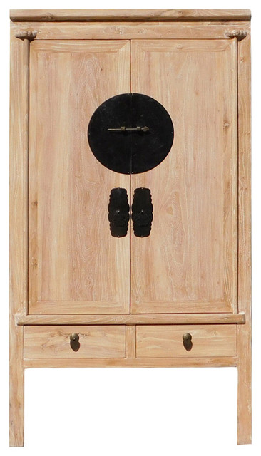 Golden Lotus Antiques Chinese Distressed Raw Wood Finish Tall Cabinet Armorie Wardrobe Hcs1311 ...