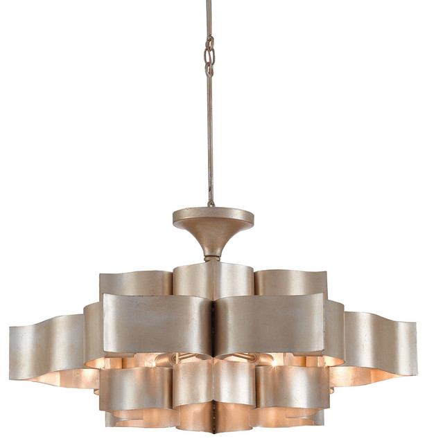 Currey And Company Lotus Chandelier: Currey & Co 9000-0051 Grand Lotus Contemporary Silver Leaf