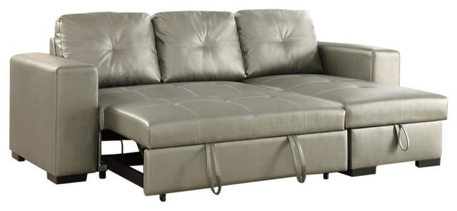 Polyurethane 2-Piece Convertible Sectional Sofa, Silver ...