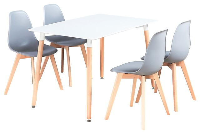 Rico Dining Table Set With 4 Chairs, White and grey