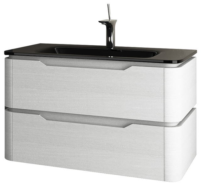 Strato 2-Drawer Washbasin Unit With Glass Countertop, Glossy White, Small.