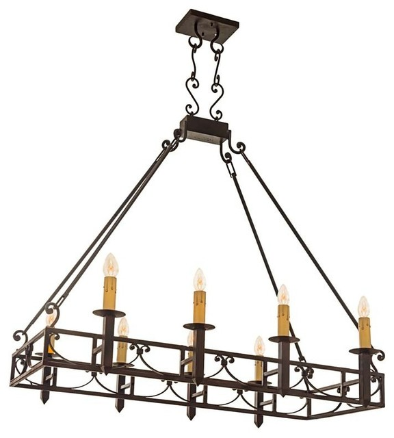 Mission Forge Rectangular Chandelier Bronze Finish