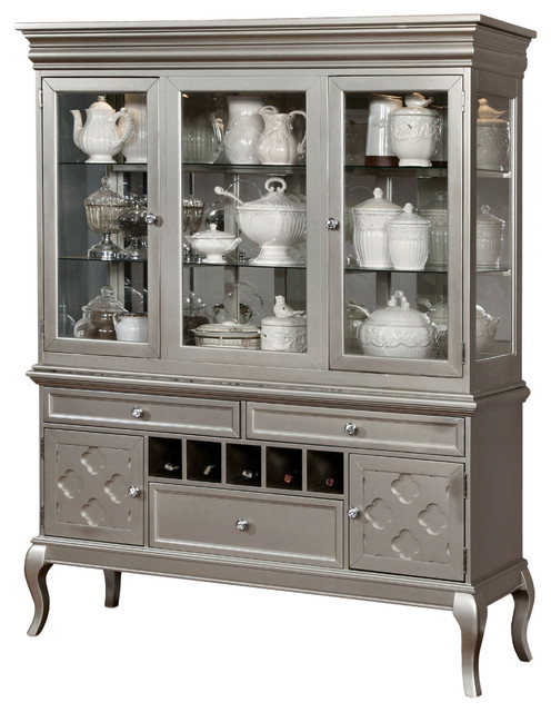 Natting Contemporary Dining Hutch And Buffet Set, Silver