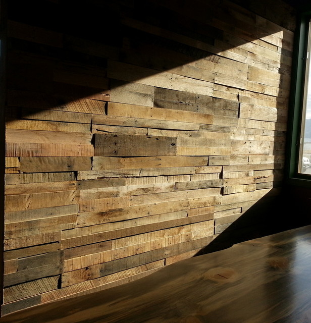 Pallet Wall Paneling : Recycled pallet and reclaimed wood paneling rustic