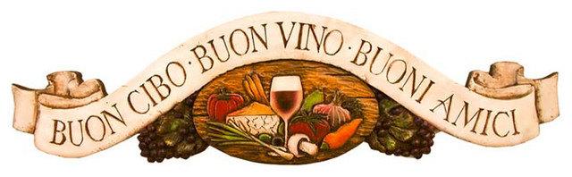 Tuscan Wall Decor Plaque, Good Food, Good Wine, Good Friends.