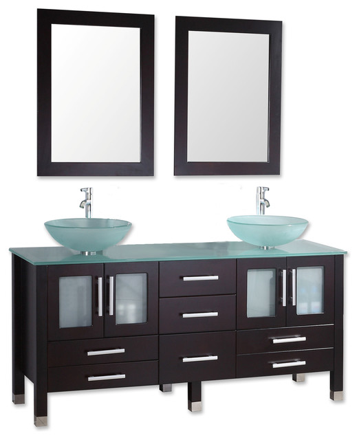 "Contemporary Bathroom Vanities Oregon oregon 63"" espresso tempered glass double vanity set"