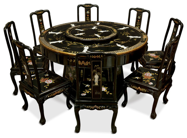 Wonderful Black Lacquer Dining Table With 8 Chairs Asian Dining Sets