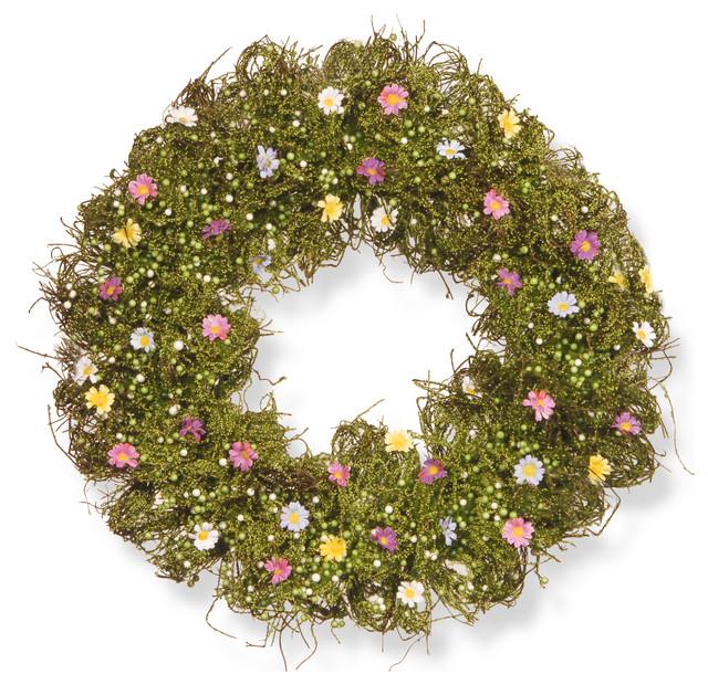 "Spring Flower Wreath, 19""."