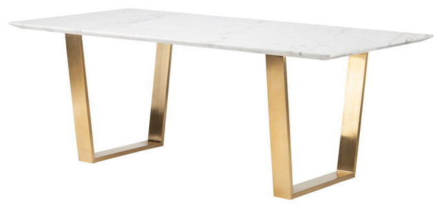 79 Uber Modern Office Desk With White Marble Top Brushed Gold Stainless St