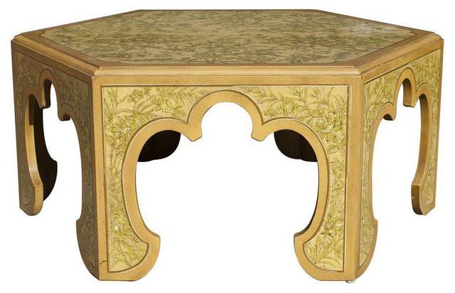 Hollywood Regency Floral Hexagon Coffee Table