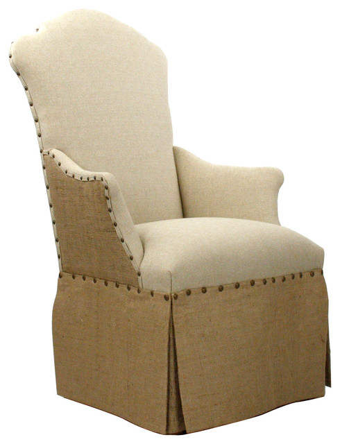 French Country Jute Linen Skirted Dining Arm Chair