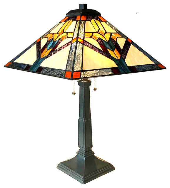 Chloe Lighting Shay Mission 2 Light Antique Dark Bronze Table Lamp 16 Craftsman Lamps By Inc