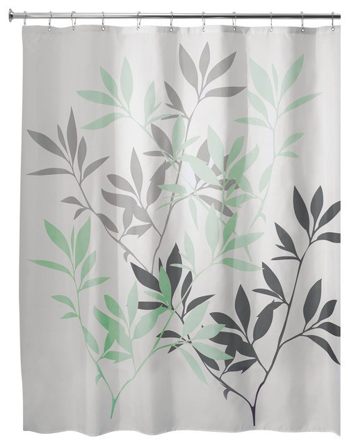 "iDesign Leaves Fabric Shower Curtain, 72""x72"", Gray and Mint"