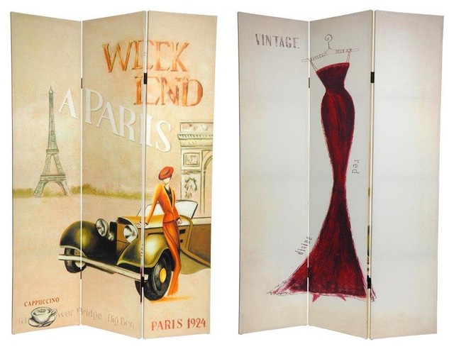 Tall Double Sided Vintage Weekend Canvas Room Divider - Paris  contemporary-screens - 6 Ft. Tall Double Sided Vintage Weekend Canvas Room Divider