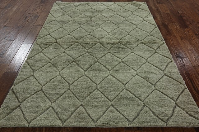 Oriental Broken Design Moroccan 5'x7' Ivory Hand Knotted Wool Area Rug