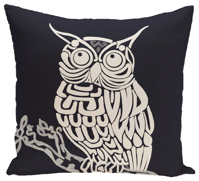 Hootie Animal Print Pillow - Contemporary - Outdoor Cushions And Pillows - by E by Design