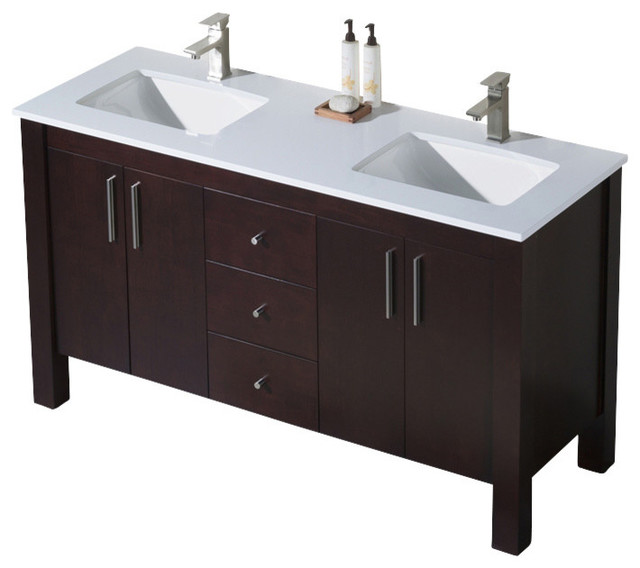 Superbe Parsons 60 Double Sink Vanity, Espresso, White Sink, White Quartz Countertop