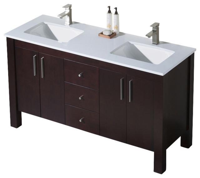 Parsons 60 Double Sink Vanity Espresso White Beige Quartz Countertop
