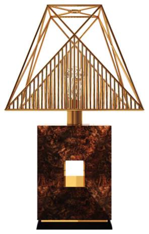 Delicato Walnut and Brass Table Lamp
