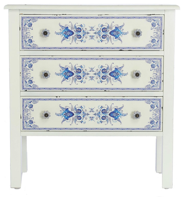 "28"" Blue and White French Countryside 3-Drawer Cabinet"
