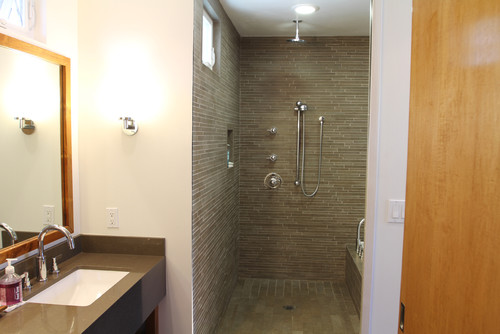 Did you use schluter edging where the drywall and shower - Tiling a bathroom wall on drywall ...