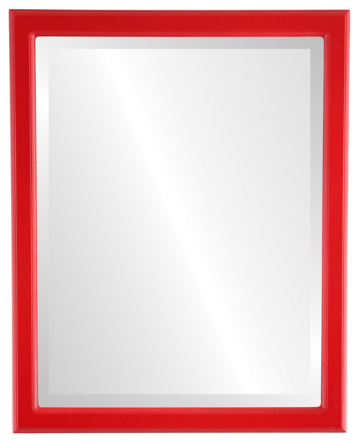 Toronto Framed Rectangle Mirror in Holiday Red - Contemporary - Wall ...