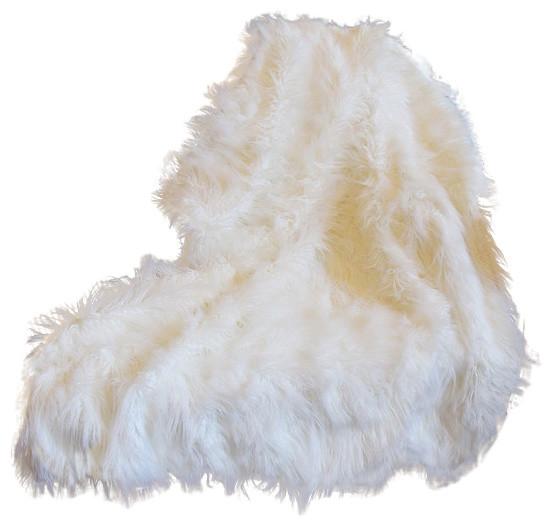 """Tache Luxury White Lion Pile Faux Fur Throw Blanket, 50""""x60""""."""