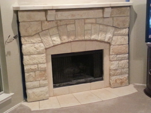Chopped Cream Limestone Fireplace Mantel traditional - Chopped Cream Limestone Fireplace Mantel - Traditional - Dallas