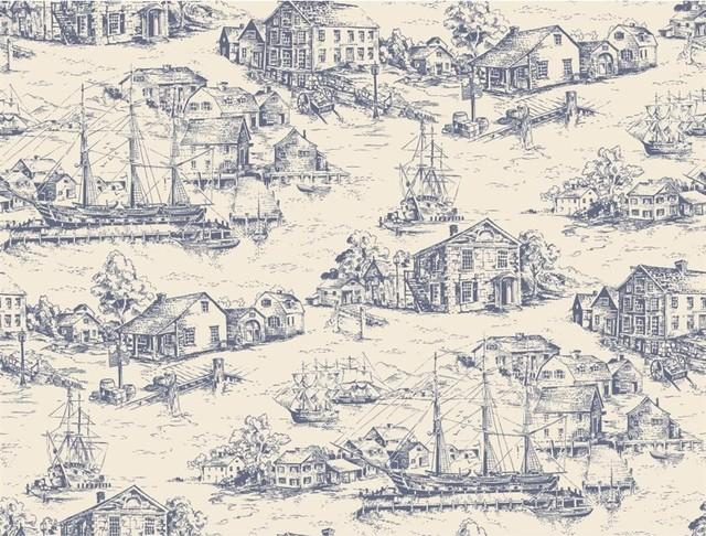 Scenic Nautical Toile Traditional Wallpaper Houston