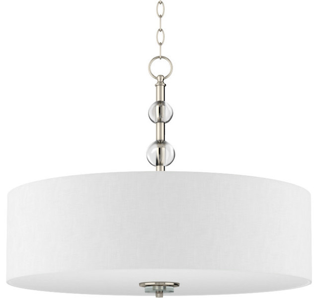 "Park Harbor PHHL6106 Bankloft 6 Light 24"" Wide Drum Chandelier with Fabric Shad"